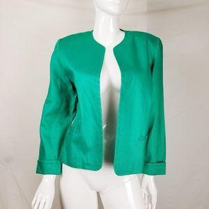 TALBOTS Linen Open Front Blazer Jacket Career